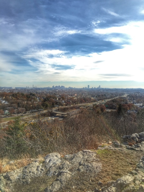 View of the Boston Skyline scouting the course weeks prior
